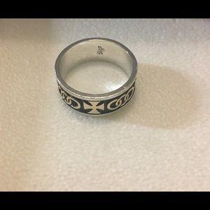 Retired James Avery sterling/14k Cross ring